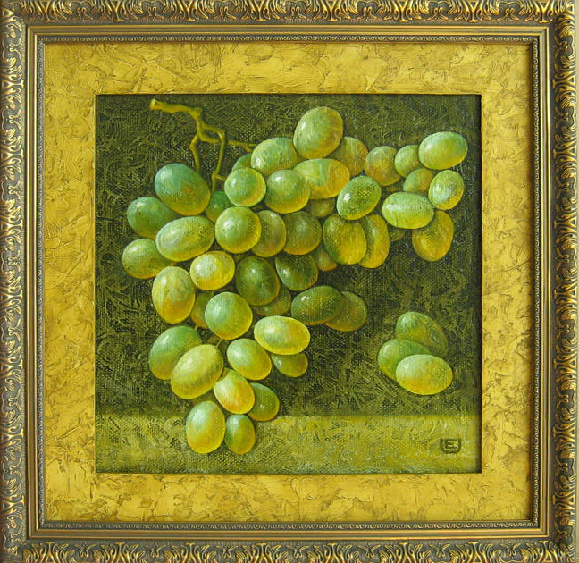 Vynuogės, 2009 m.(40x 40 cm) oil, canvas, spec.faktūra, 500 eu