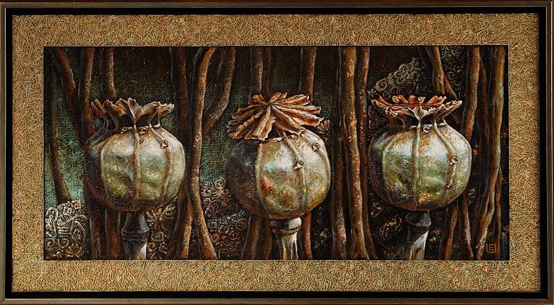 Trys aguonos.  2010 m.(40 x 75 cm)oil, canvas,spec.faktura.  980eu.