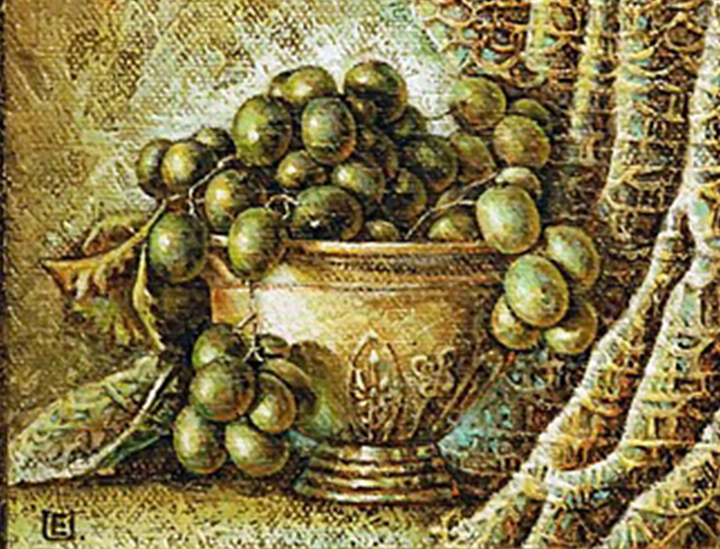 GRAPES IN VASE 2011 (21 x 28 cm)