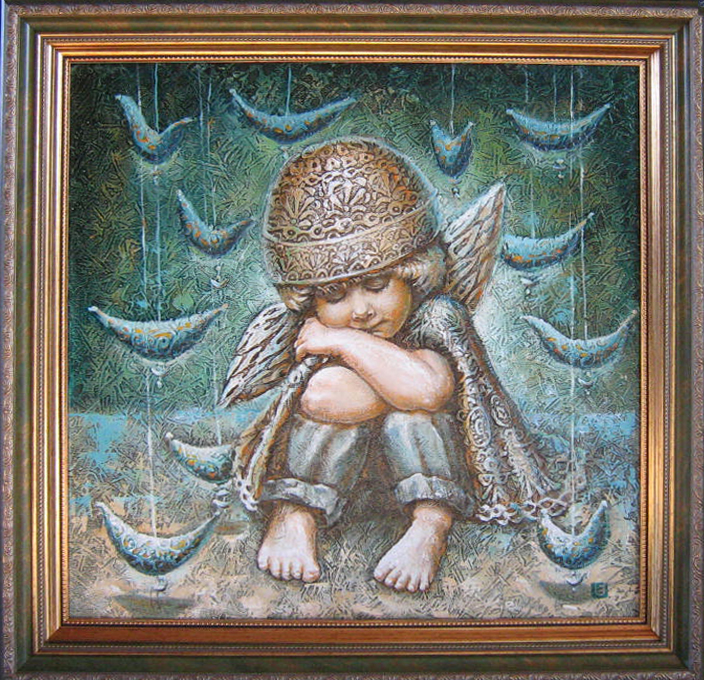 Angeliukas 2010 m.(50 ant 50 cm), aliejus, drobė, spec.faktūra. Parduotas