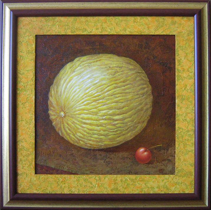 Melionas su vyšnia 2009 m. (40 ant 40 cm), aliejus, drobė, spec.faktūra, parduotas