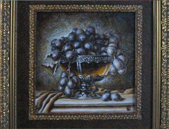 Natiurmortas su vynuogėm 25 x 25 cm.