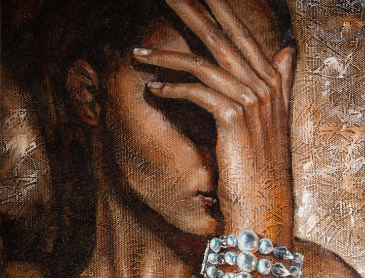 Mergina su perlų apyranke 30 cm x 40 cm
